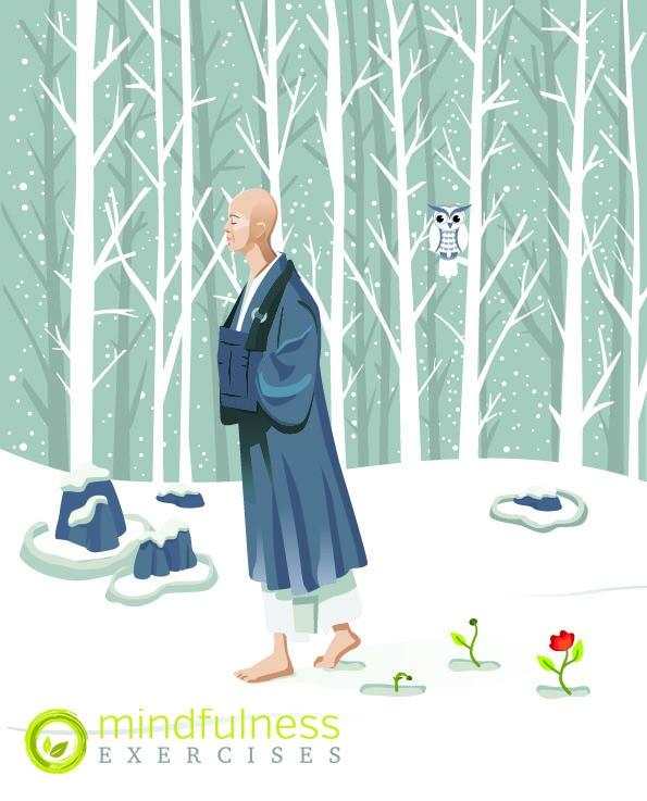 Zen Monk Walking
