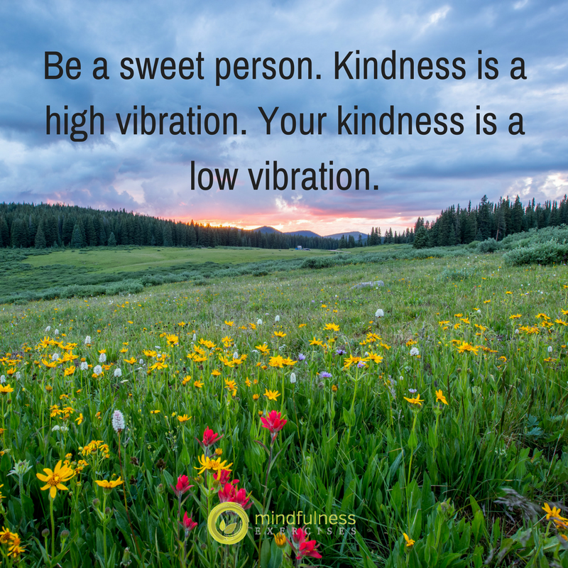 Be a sweet person. Kindness is a high vibration. Your kindness is a low vibration.