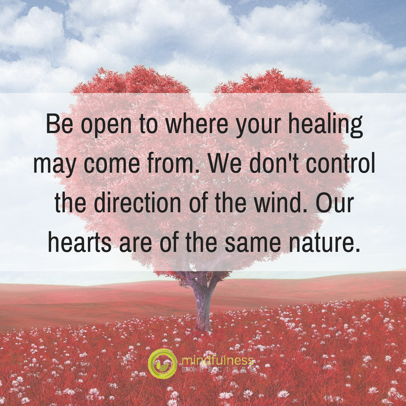 Be open to where your healing may come from. We don't control the direction of the wind. Our hearts are of the same nature.