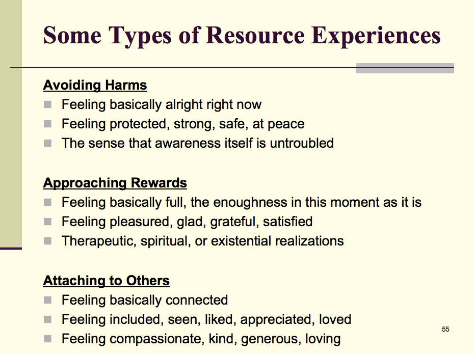 Some Types of Resource Experiences