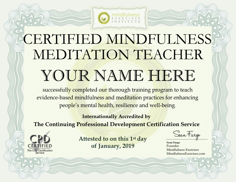 Mindfulness Meditation Teacher Certification Program Mindfulness