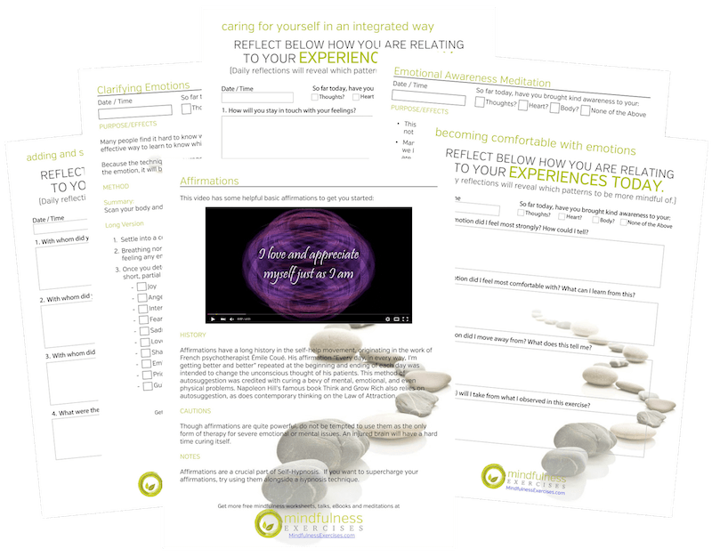 mindfulness worksheets for emotions