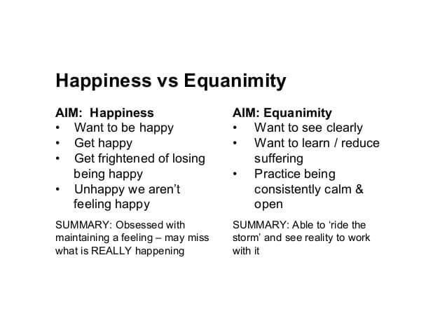 Happiness vs Equanimity