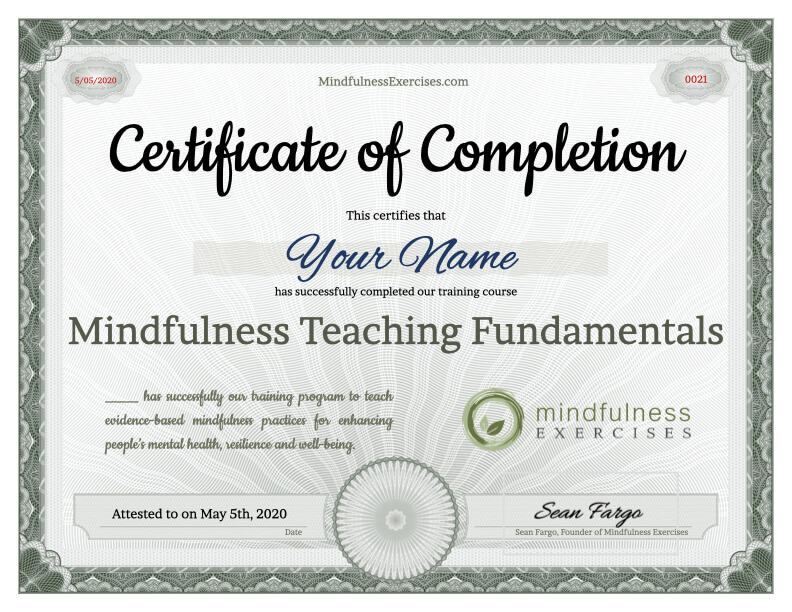Certificate of Completion - Mindfulness Teaching Fundamentals